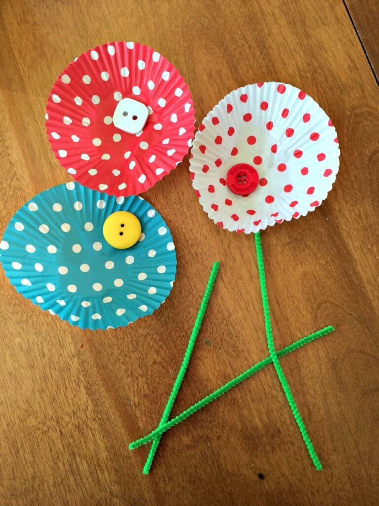 cupcake liner flower craft
