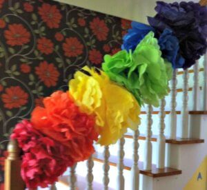 rainbow birthday party tissue poms