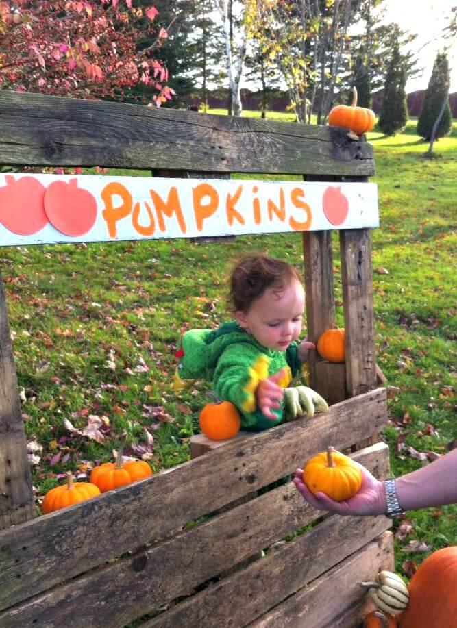 diy pallet pumpkin stand