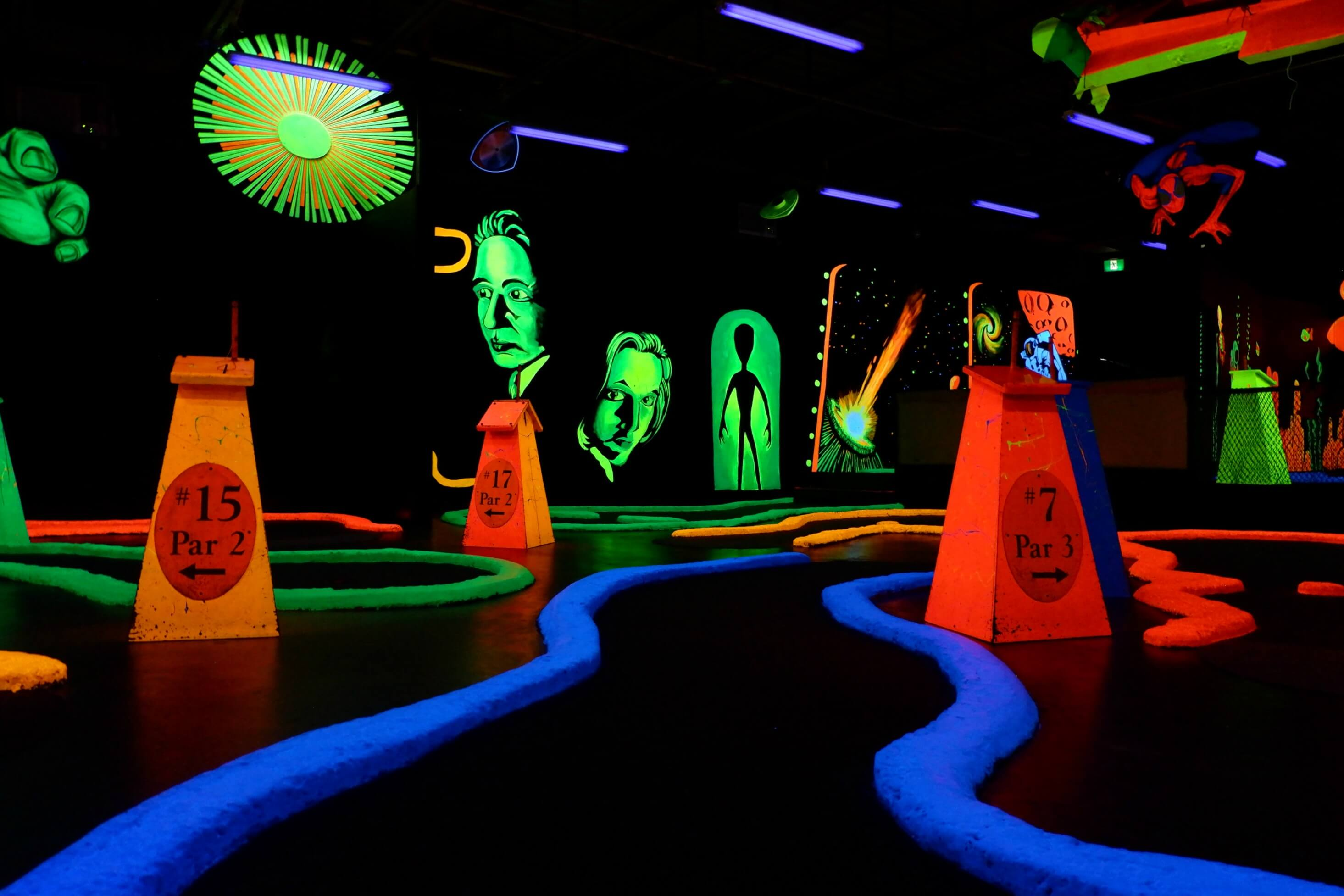 cavendish rainy day ideas kids family fun indoor black light golf