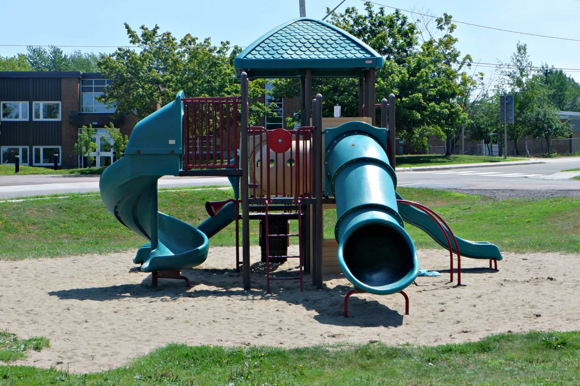 riverview patricia park tot lot accessible playground pickle planet sand box structure