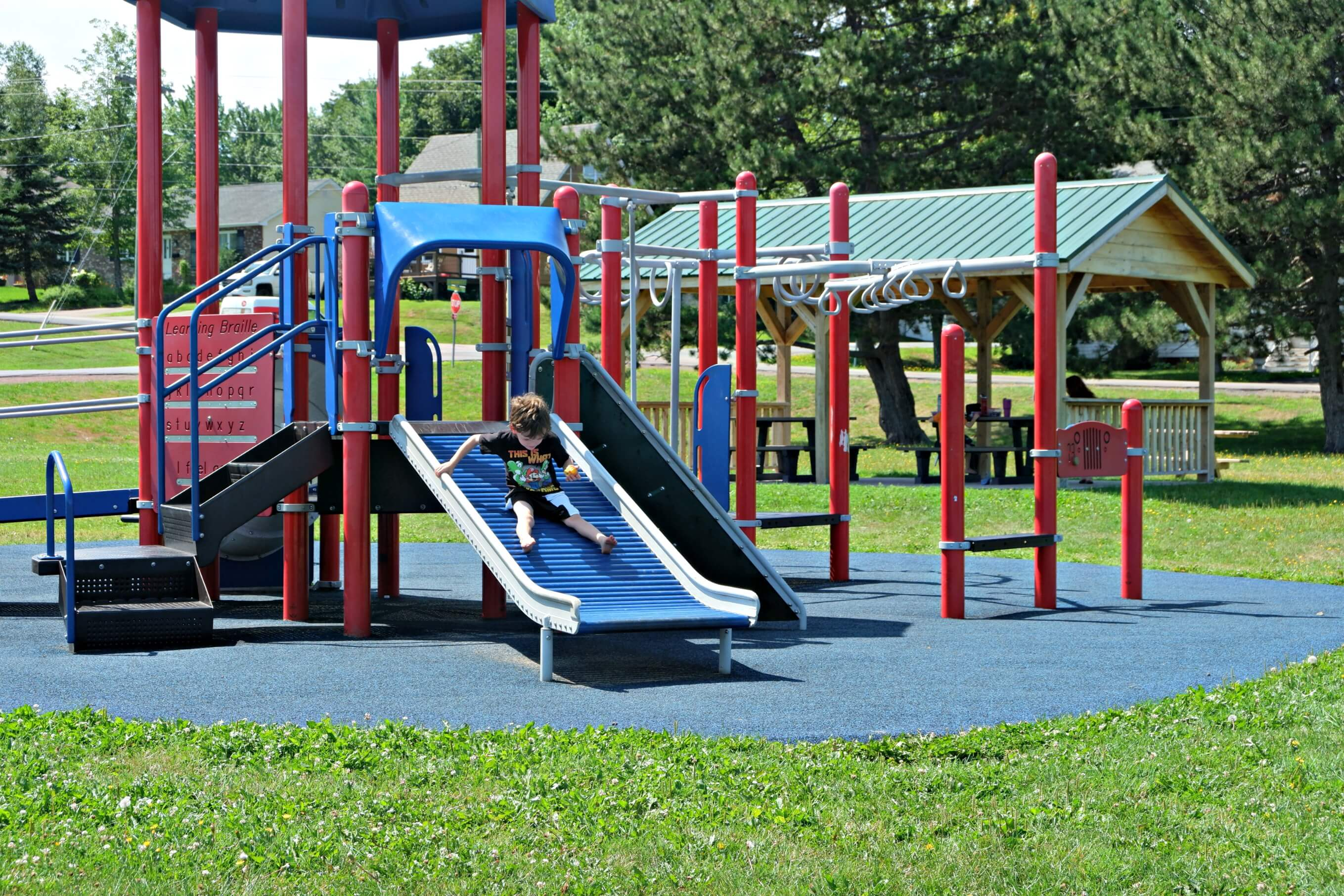 riverview patricia park tot lot accessible playground pickle planet slide