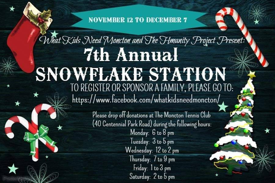 snowflake station what kids need moncton charity help christmas donate give back volunteer