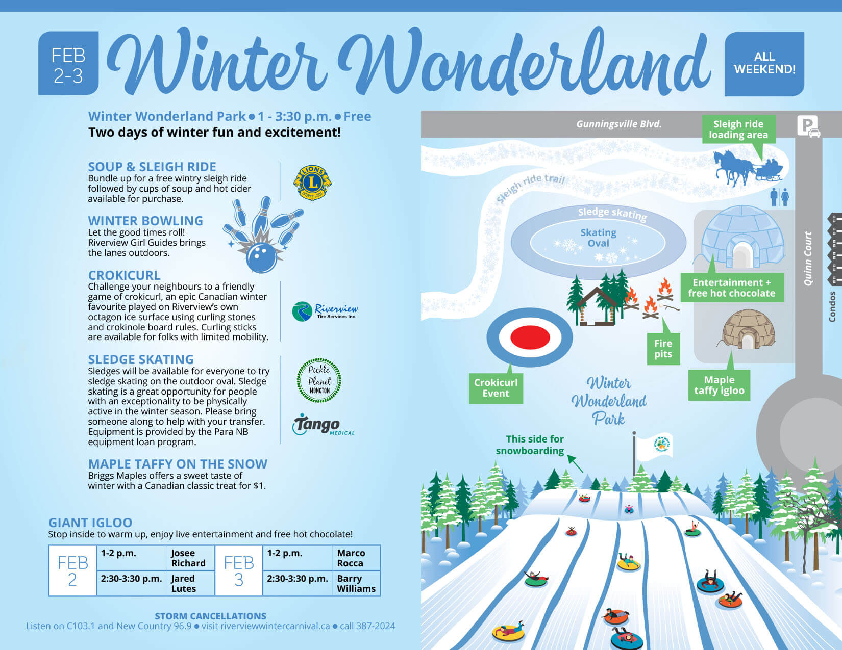 Riverview Winter Carnival Winter Wonderland Park sleigh rides skating sledge accessible activity crokicurl sleding sliding