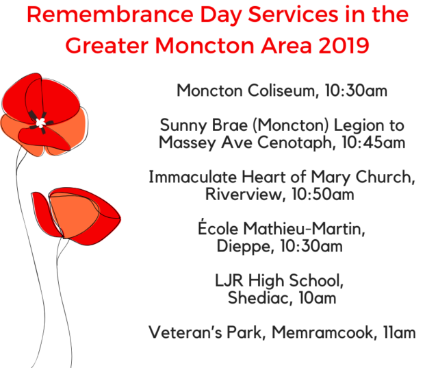 Remembrance Day Services in the Greater Moncton Area