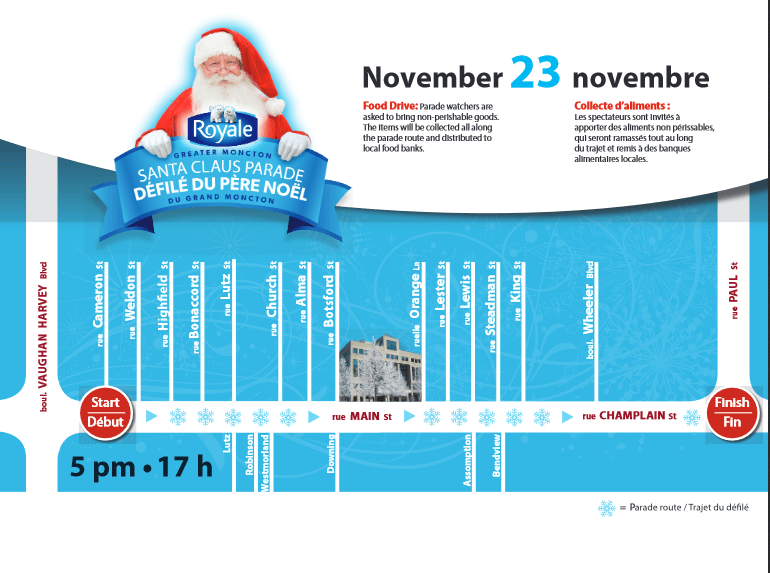 moncton santa parade 2019 route parking where to watch