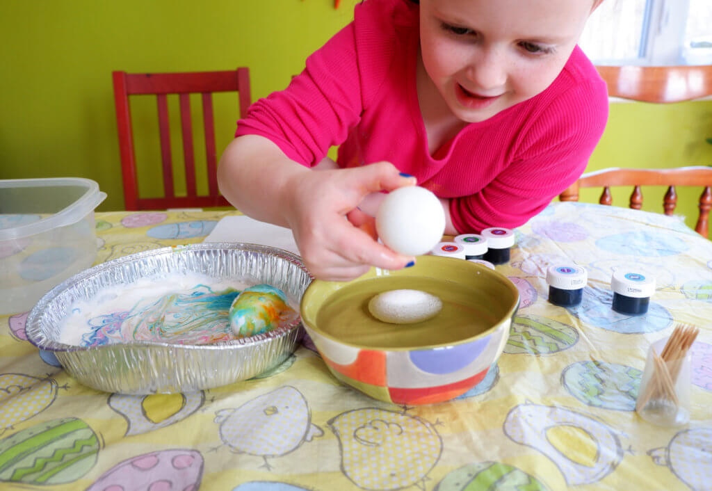 edible whipped cream dyed easter eggs