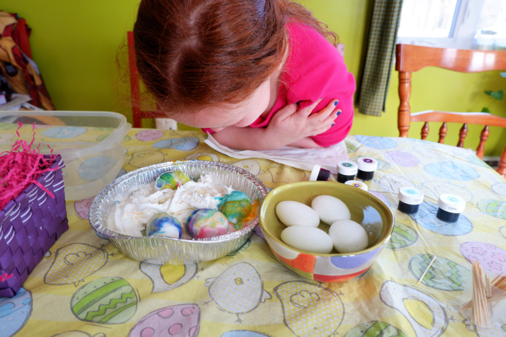 easy edible whipped cream dyed easter eggs