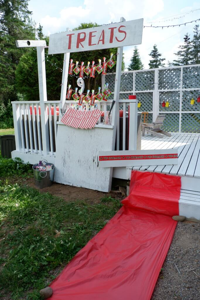 Backyard Movie Birthday Party Rental Ideas Moncton Pickle Planet Confetti Fizz Dieppe Riverview New Brunswick diy treat stand popcorn candy